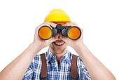 Male Repairman Looking Through Binoculars