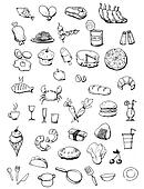 Food icons hand drawn illustration Hand draw food icons isolated on the white background