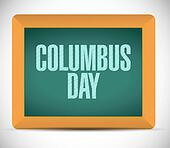 columbus day board sign illustration