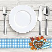 Wood Knife Fork Spoon Plate Oktoberfest Blue Tablecloth