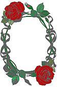 2 roses in frame