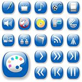 Digital Media Art Icons with Blue Drop Shadows