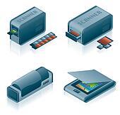 Computer Hardware Icons Set - Design Elements 5h