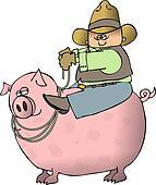 Boy Riding A Pig