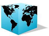 Square Earth Globe, Box map of America, Europe, Africa