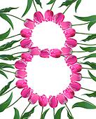 8 March greetings card with tulips