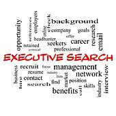 Executive Search Word Cloud Concept in red caps