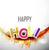abstract colorful stylish holi text festival background for design vector