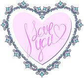 vintage ornamental heart shape with calligraphic text I LOVE YOU