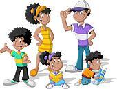 cute happy cartoon black family