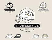 Simple flat black and white steam iron cleaning service logotype