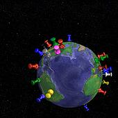 Tacks In Space Earth Map - Atlantic