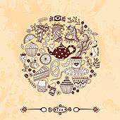 illustration of circle made of sweets. Round shape made of candy, sweets, tea lettering and tea things. Vintage background. Bright summer outlines made from tea things. Let's tea!
