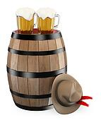 3D oktoberfest. Barrel. Mug of beer. Traditional hat