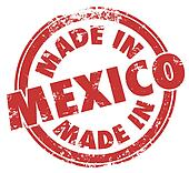 Made in Mexico Words Round Red Stamp National Pride
