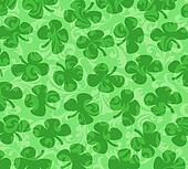 Shamrocks Scattered on a Green Swirl Background