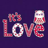 Love card or poster template with cute owl