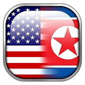 USA and North Korea Flag square glossy button
