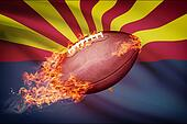 American football ball with flag on backround series - Arizona