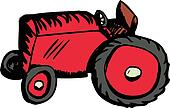 Single Red Tractor