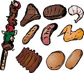 Barbecued meats illustration