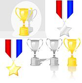 Shiny Trophy Award Medal