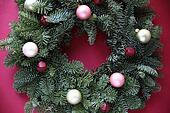 ornaments and bells on wreath