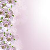 Border of white - pink  flower  on  purple - white background