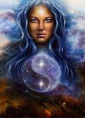 beautiful  beautiful woman in star dust and symbol jin jang