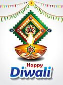 happy diwali celebration background with mango leaf
