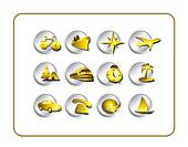 Travel Icon Set: Gold-Silver