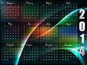 Calendar 2014 template bright colorful wave background vector