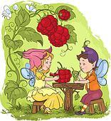 Cute elves. Childrens illustration