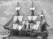 Battleship reduced central, vintage engraving.
