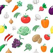 Vegetables and fruits seamless pattern. Radishes with eggplant, cabbage, lemon tomato