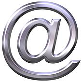 3D silver email symbol
