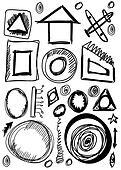 Doodle set hand drawn shapes
