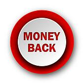money back red modern web icon on white background