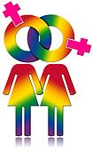 Lesbians Relationship - Rainbow Colored Symbol
