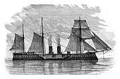 The Tegethoff Austrian battleship, vintage engraving.