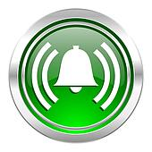 alarm icon, green button, alert sign, bell symbol