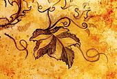 grapevine leaves. Drawing on paper, ornamental structure.