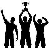 Trophy Winners Celebrate Sports Victory