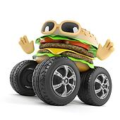 3d Beefburger with giant wheels