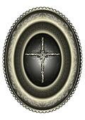 Oval silver medallion with cross fr