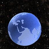 Earth Globe Blue Marbele on Stars