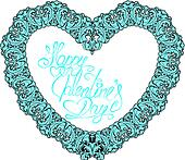 vintage ornamental heart shape with calligraphic text Happy Vale