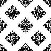 Foliate arabesque motifs in a diamond pattern