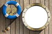Lifebuoy and Metal Porthole on wooden wall