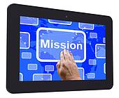 Mission Tablet Touch Screen Shows Strategy And Vision